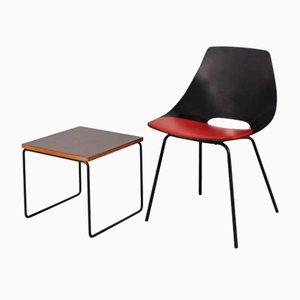 Vintage Side Chair and Table Set by Pierre Guariche for Steiner