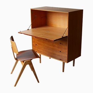 Unit J Secretaire & Hillestak Chair by Robin Day for Hille, 1950s