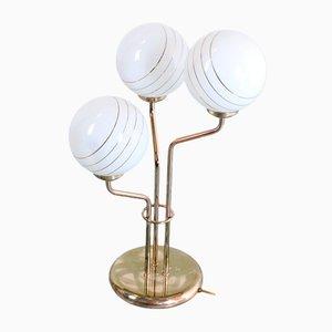 Vintage Tischlampe aus Messing mit Glasschirmen