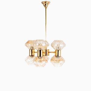 Lampada a sospensione vintage in vetro soffiato color ambra