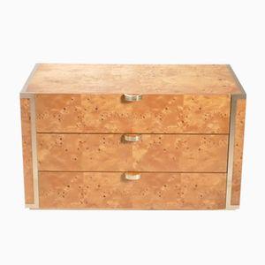 Small Burl Elm & Brass Dresser by JC Mahey for Roche Bobois, 1970s