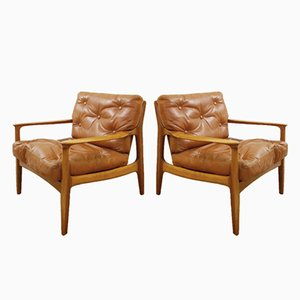 Mid-Century Cognac Brown Leather & Wood Armchairs, Set of 2