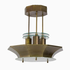 Art Deco Haager Schule Lampe aus Messing und Geätztem Glas, 1930er