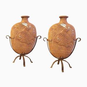 Französische Terracotta Fisch Vasen, 2er Set