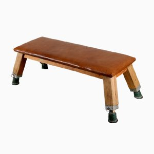 Vintage Czech Industrial Leather Bench