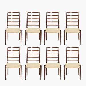 Modell 82 Palisander Stühle von Niels O. Møller für J. L. Møllers, 1970er, 8er Set