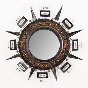 Ceramic Sunburst Mirror by Georges Pelletier, 1970s