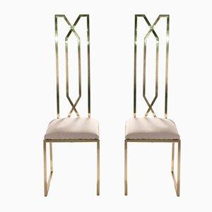 Messing Stühle von Willy Rizzo für Maison Jansen, 1970er, 2er Set