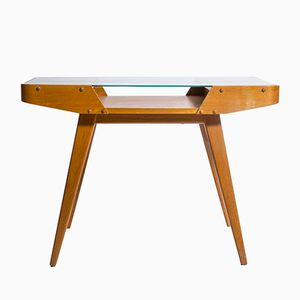 Mid-Century Side Table with Glass Top