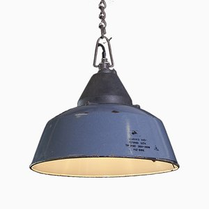 Vintage Factory Ceiling Light in Blue Enamel