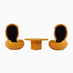 Garden Egg Chairs with Table by Peter Ghyczy for VEB Synthese, 1968