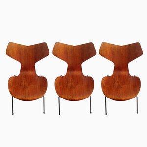 Model 3130 Grand Prix Chairs in Teak by Arne Jacobsen for Fritz Hansen, 1967, Set of 3