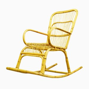 Mid-Century Bamboo and Rattan Rocking Chair, 1960s