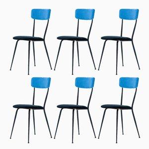 Italian Iron & Velvet Chairs, 1950s, Set of 6