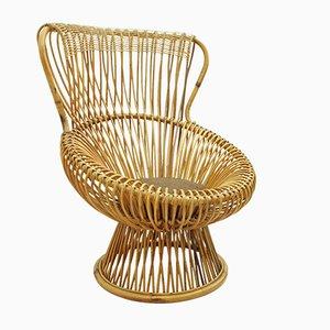 Italian Margherita Wicker Lounge Chair by Franco Albini for Vittorio Bonacina, 1950s