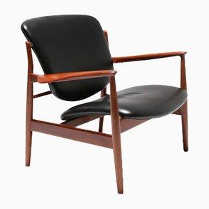 FD 136 Teak & Leather Armchair by Finn Juhl for France & Daverkosen, 1950s