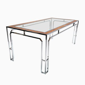 Glass & Chrome Dining Table, 1970s