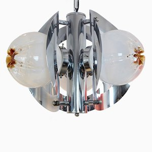 Vintage Geometric Chrome and Frosted Glass Chandelier by A.V. Mazzega