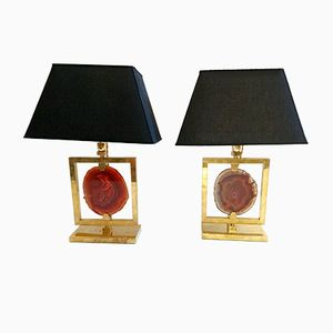 Vintage Italian Agate and Brass Lamps, Set of 2