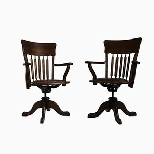 American Oak Swivel Desk Chairs, 1930s, Set of 2