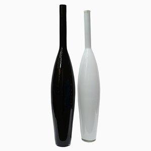 Bottiglie in vetro di Murano bianco e nero, anni '70, set di 2