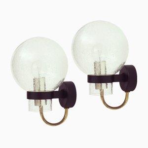 German Glass & Brass Wall Lights from Glashütte Limburg, 1960s, Set of 2