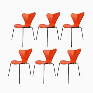 Vintage 3107 Chairs by Arne Jacobsen for Fritz Hansen, Set of 6