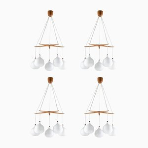 Mid-Century Swedish Chandeliers by Uno & Osten Kristiansson for Luxus, 1950s, Set of 4