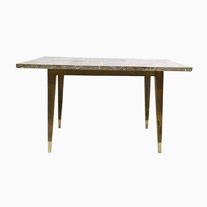 Table Basse en Hêtre avec Plateau en Marbre, Italie, 1950s