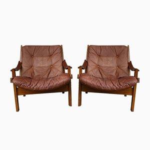 Scandinavian Hunter Lounge Chairs by Torbjørn Afdal for Bruksbo, 1960s, Set of 2