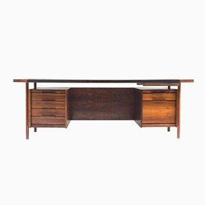 Mid-Century Executive Desk in Rosewood & Leather by Sven Ivar Dysthe for Dokka Møbler