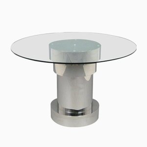 Circular Italian Glass & Metal Dining Table, 1980s
