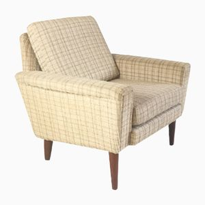 Danish Mid-Century Armchair with Checkered Upholstery