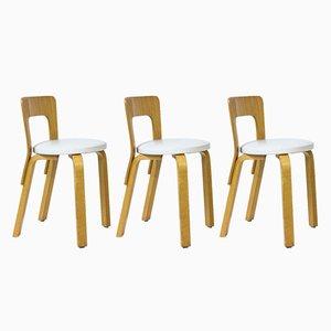 Modell 65 Stühle von Alvar Aalto für Artek, 1970er, 3er Set