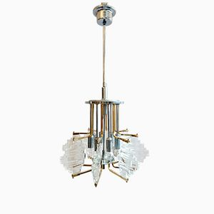 Italian Chandelier in Brass and Chrome by Sciolari, 1960s