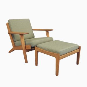 Model GE290 Armchair & Matching Stool by Hans J. Wegner for Getama, 1960s