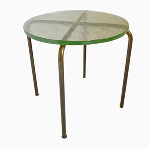 Vintage French Modernist Brass and Cristal Glass Side Table