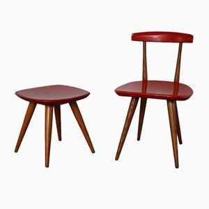 Mid-Century Children's Chair & Stool by Karla Drabsch for Kleid im Raum