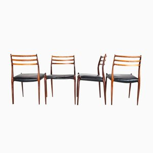 Mid-Century Model 78 Dining Chairs by Niels Møller for J.L. Møllers Møbelfabrik, Set of 4
