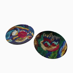 Abstract Decorative Plates, 1970s, Set of 2
