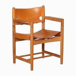Dänischer Armlehnstuhl 3238 aus Leder & Eichenholz von Børge Mogensen für Fredericia Furniture, 1970er