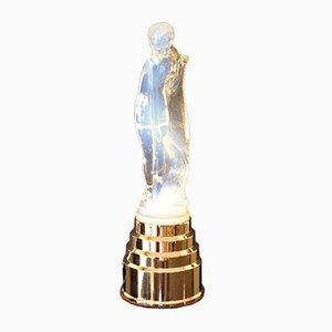 Art Deco Opalescent Statue Lamp by Edmond Etling, 1930s