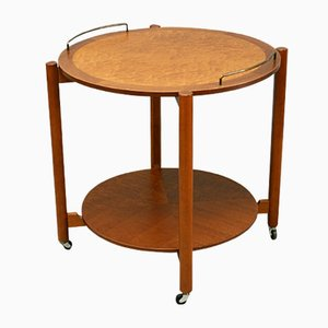 Mid-Century Teak and Birdseye Maple Circular Drinks Trolley