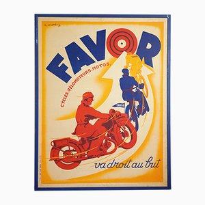 Affiche Lithographie Favor par Lionel Matthey pour Etablissements Delattre, 1930s