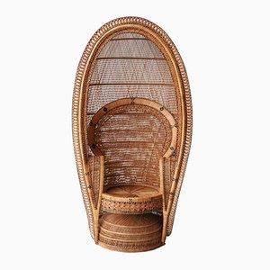 Handgewebter Französischer Sessel aus Naturfaser