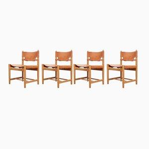 Skandinavische Mid-Century Modell 3237 Stühle von Børge Mogensen für Fredericia, 4er Set