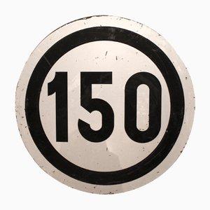 Grand Panneau de Route Limitation de Vitesse 55 km/h Vintage