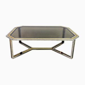 Chrome and Brass Coffee Table by Romeo Rega, 1970s