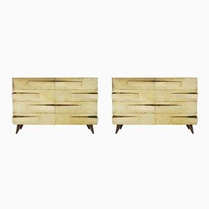 Vintage Italian Oak Cabinets, Set of 2