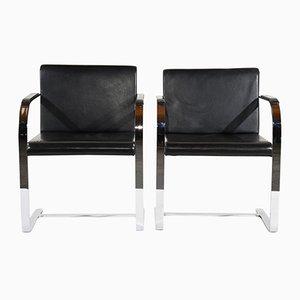 Mid-Century Modern Flatbar Brno Chairs by Mies van der Rohe, 1960s, Set of 2